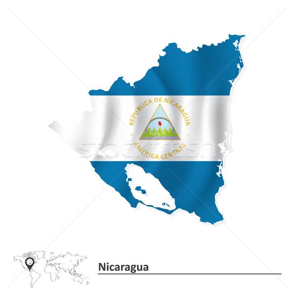 Map of Nicaragua with flag Stock photo © ojal