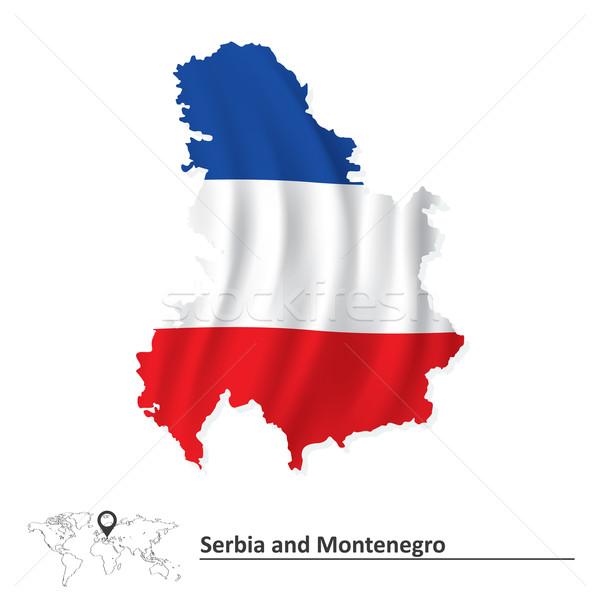 Harita Sırbistan Karadağ bayrak doku dizayn Stok fotoğraf © ojal