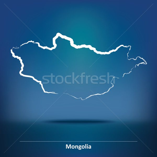Doodle Map of Mongolia Stock photo © ojal