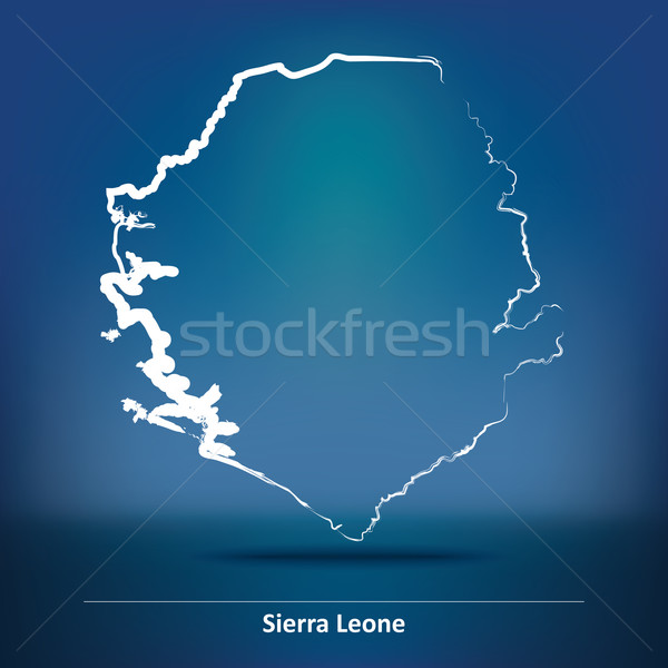 Doodle Map of Sierra Leone Stock photo © ojal
