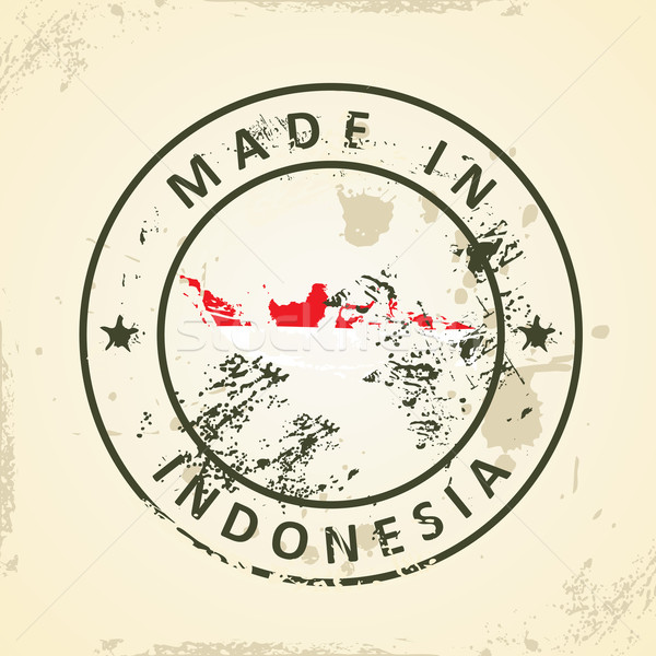 Stamp with map flag of Indonesia Stock photo © ojal