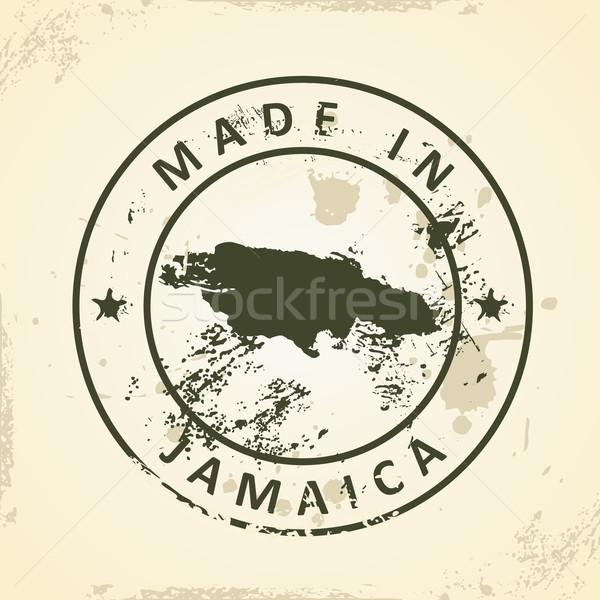 Damga harita Jamaika grunge dünya sanat Stok fotoğraf © ojal