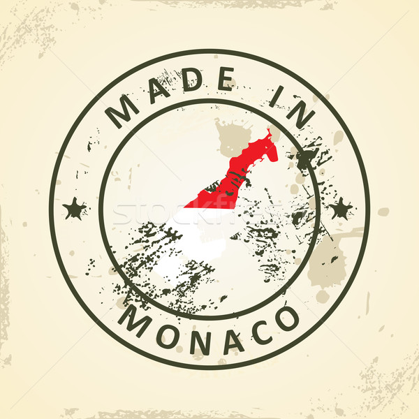 Stamp with map flag of Monaco Stock photo © ojal