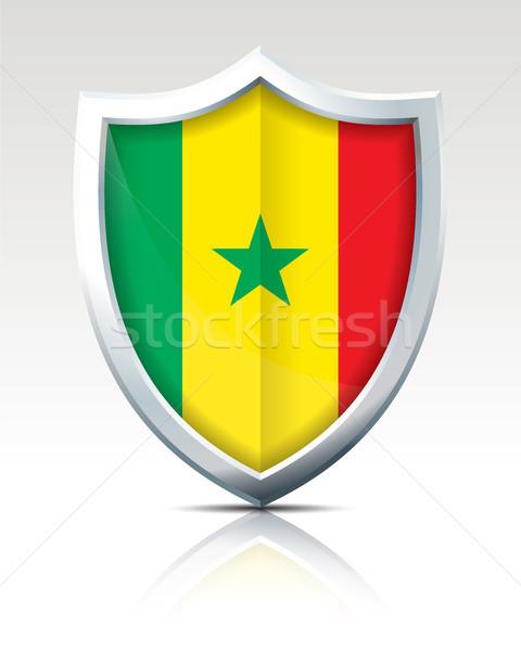 Pajzs zászló Szenegál térkép világ zöld Stock fotó © ojal