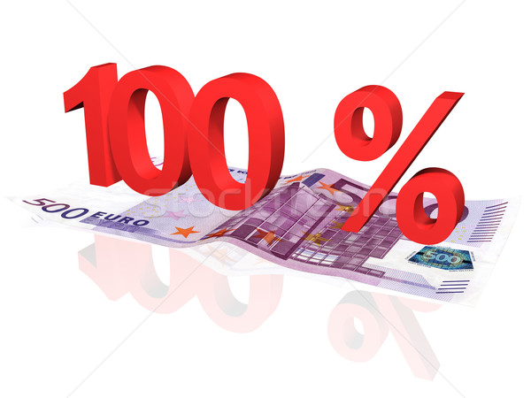 3d rendered 100 % percentage on euro banknote Stock photo © ojal