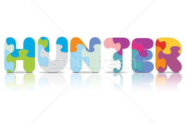 ストックフォト: ベクトル · ハンター · 書かれた · アルファベット · パズル · 愛