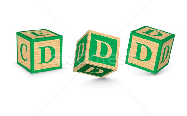 Vektor d betű fából készült ábécé kockák üzlet Stock fotó © ojal