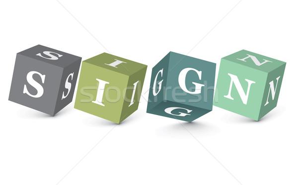Stock photo: Word SIGN written with alphabet blocks