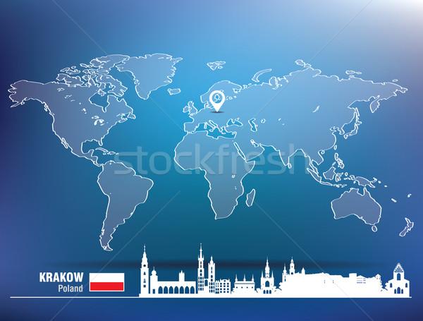 Térkép tő Krakkó sziluett épület város Stock fotó © ojal