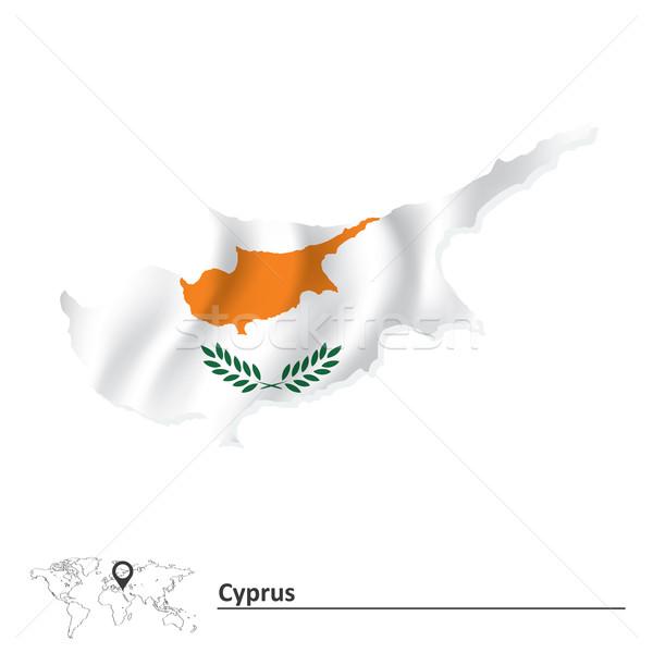 Kaart Cyprus vlag abstract aarde teken Stockfoto © ojal