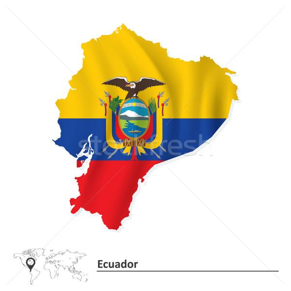 Térkép Ecuador zászló textúra háttér Föld Stock fotó © ojal