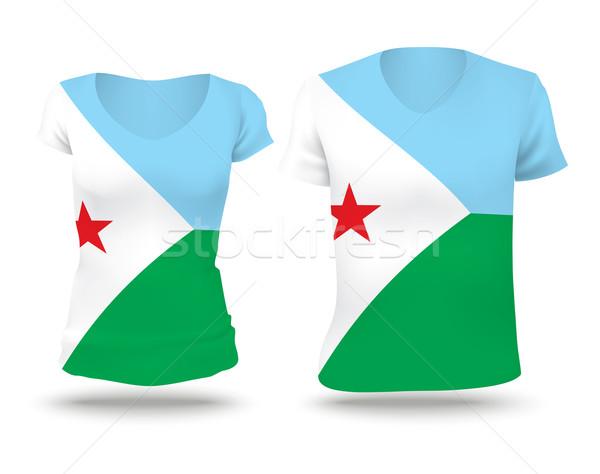 Banderą shirt projektu Dżibuti kobieta człowiek Zdjęcia stock © ojal