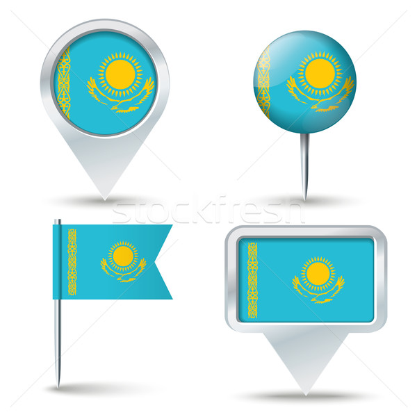 Karte Flagge Kasachstan Business Straße weiß Stock foto © ojal