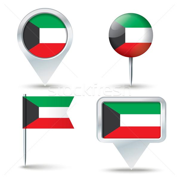 地図 フラグ クウェート ビジネス 道路 白 ストックフォト © ojal