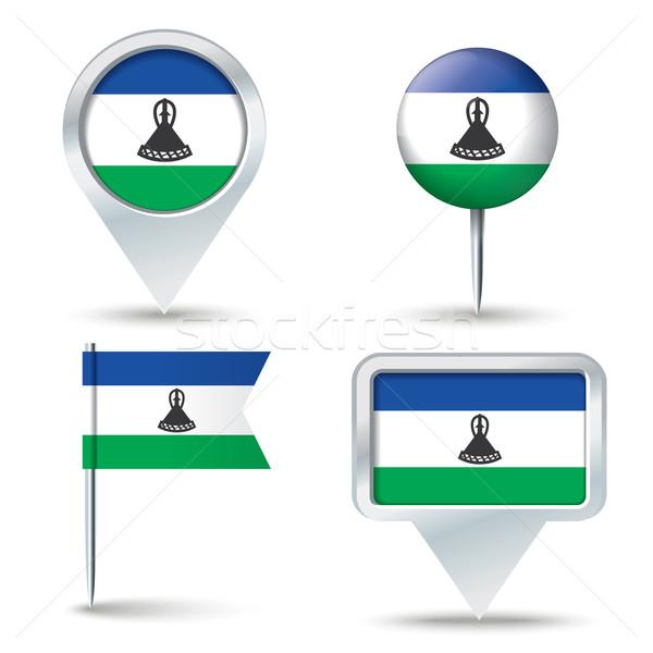 Carte pavillon Lesotho affaires route blanche Photo stock © ojal