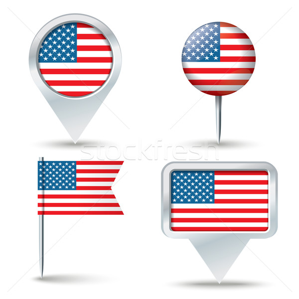 Map pins with flag of United States of America Stock photo © ojal
