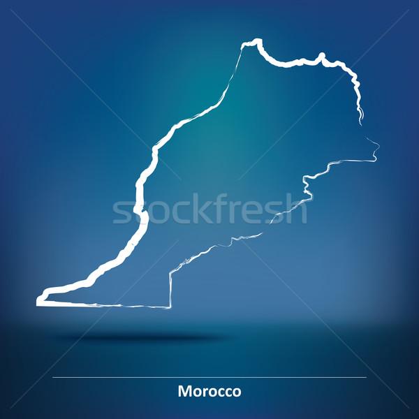 Rabisco mapa Marrocos viajar estrela vermelho Foto stock © ojal