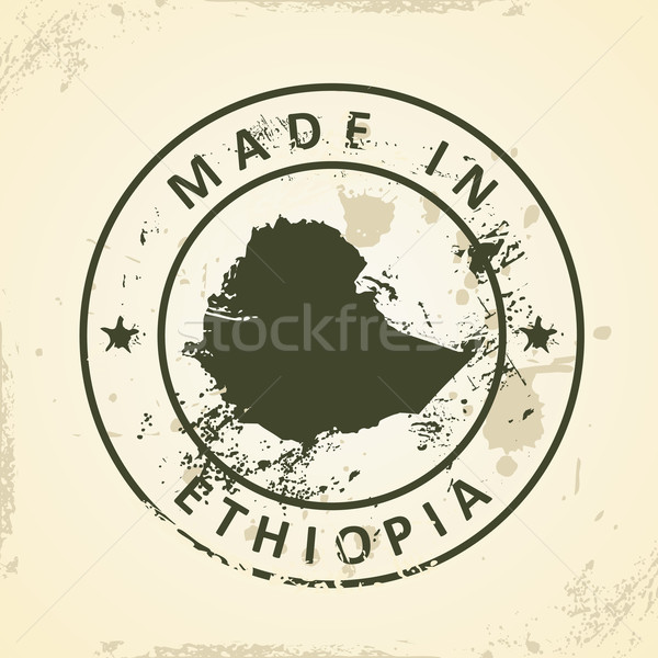 Stamp with map of Ethiopia Stock photo © ojal