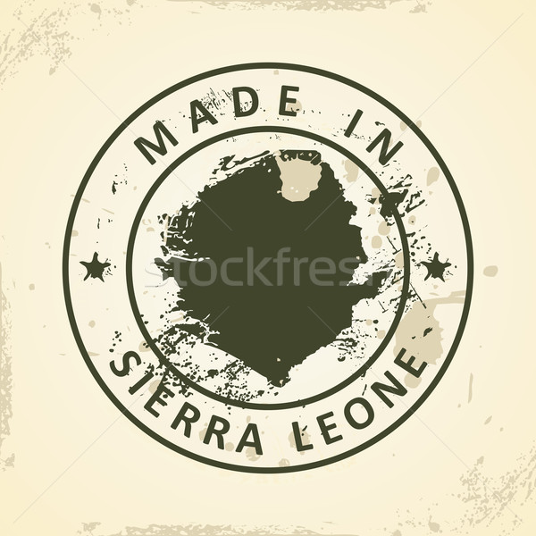 Stamp with map of Sierra Leone Stock photo © ojal