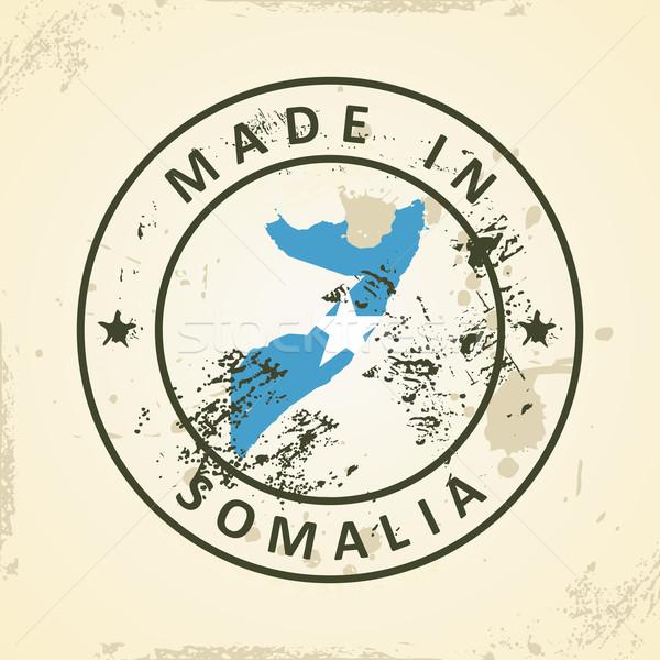 Tampon carte pavillon Somalie grunge monde Photo stock © ojal