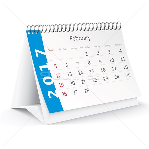 February 2017 desk calendar - vector Stock photo © ojal