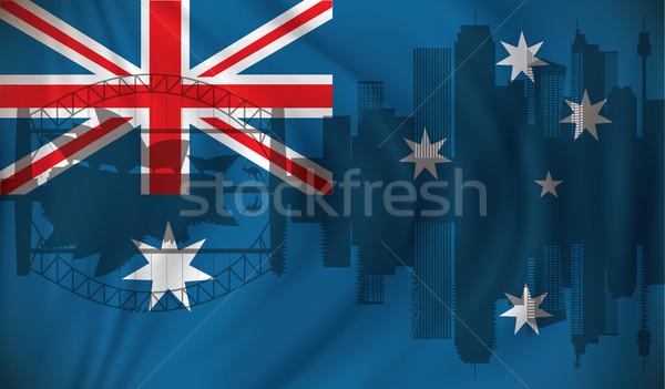 Flag of Australia with Sydney skyline Stock photo © ojal