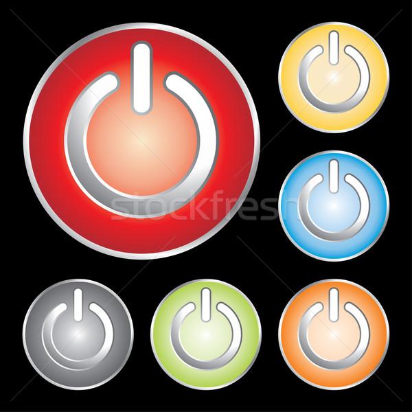 ストックフォト: 電源 · ボタン · ビジネス · 抽象的な · 光