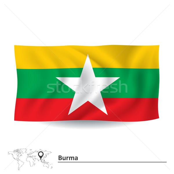 Vlag birma kaart witte land asia Stockfoto © ojal