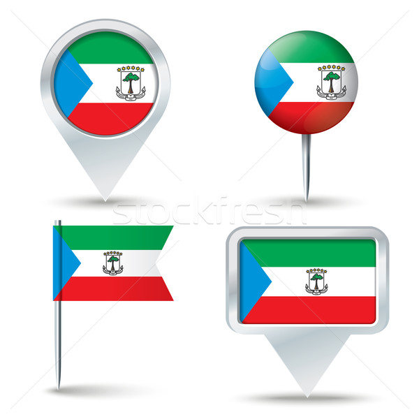 Map pins with flag of Equatorial Guinea Stock photo © ojal
