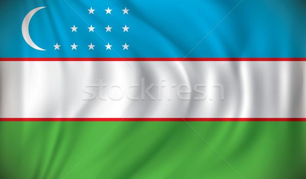 Zászló Üzbegisztán hold felirat zöld csillag Stock fotó © ojal