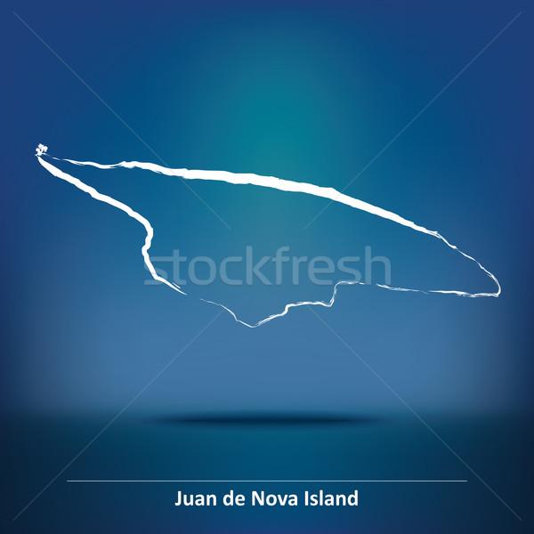 Doodle Map of Juan de Nova Island Stock photo © ojal