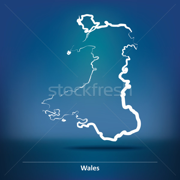 Doodle Map of Wales Stock photo © ojal