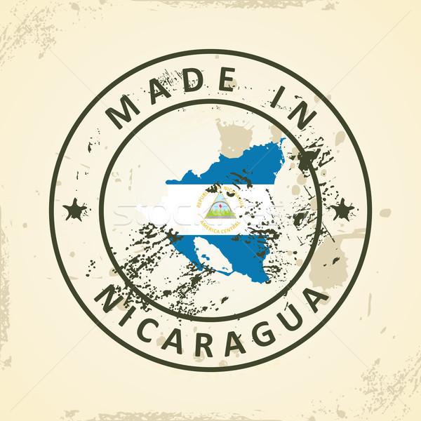 Stamp with map flag of Nicaragua Stock photo © ojal