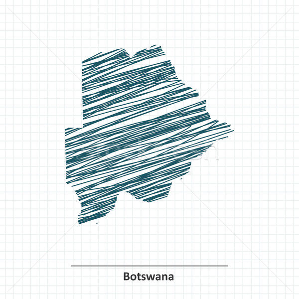 Doodle schets Botswana kaart achtergrond reizen Stockfoto © ojal