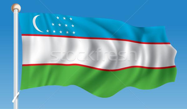 Zászló Üzbegisztán térkép terv zöld kék Stock fotó © ojal
