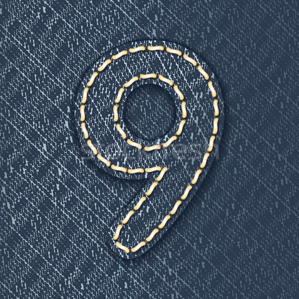 Number 9 made from jeans fabric Stock photo © ojal