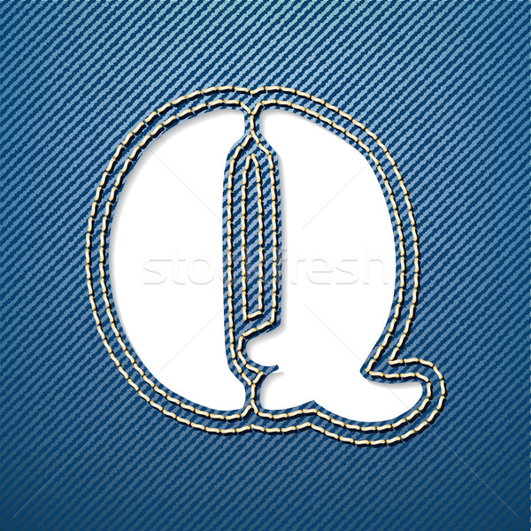 джинсовой джинсов буква q письме ткань ткань Сток-фото © ojal