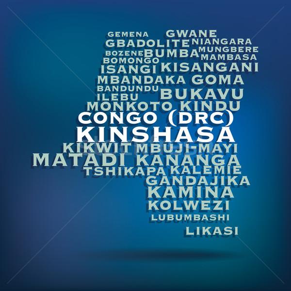 Congo mapa nombre ciudades mundo signo Foto stock © ojal