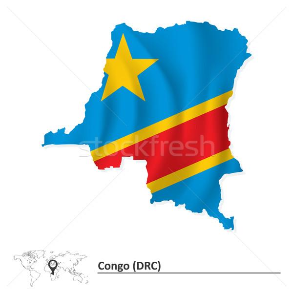 Stok fotoğraf: Harita · demokratik · cumhuriyet · Kongo · bayrak · seyahat