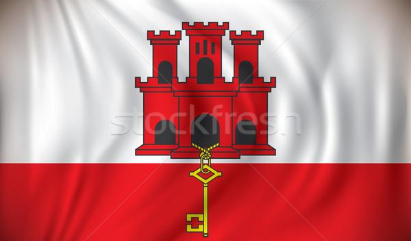 Banderą gibraltar sztuki sylwetka kraju gruntów Zdjęcia stock © ojal