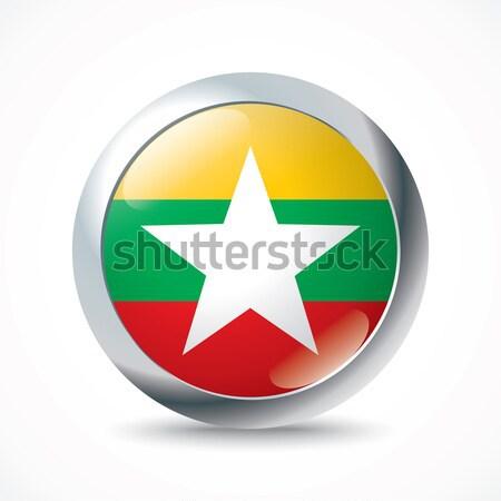Birma vlag knop star witte land Stockfoto © ojal