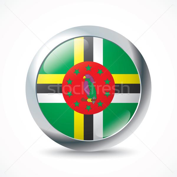 Dominica vlag knop abstract reizen silhouet Stockfoto © ojal