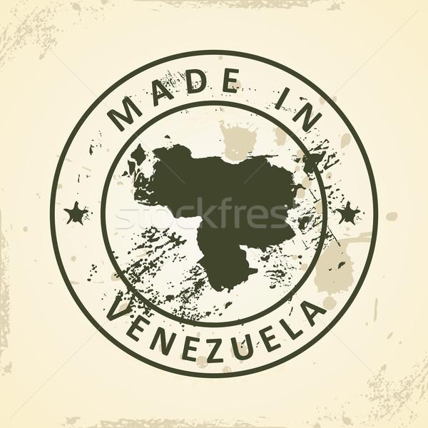 Bélyeg térkép Venezuela grunge csillag fehér Stock fotó © ojal
