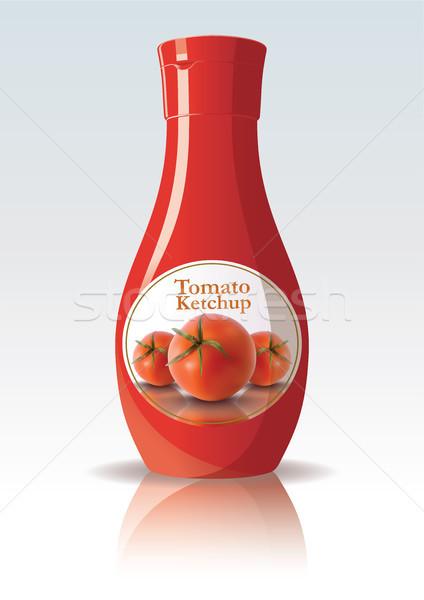 Tomaat ketchup fles ontwerp Rood kleur Stockfoto © ojal