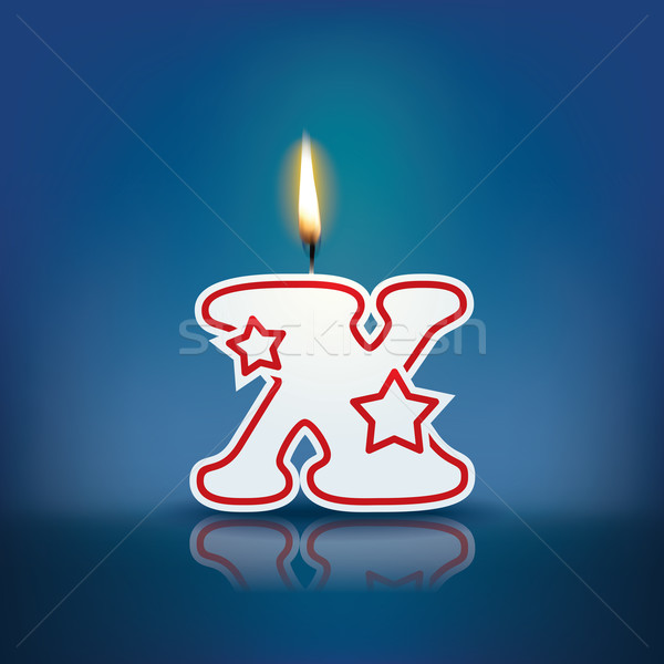 Candle letter x with flame Stock photo © ojal