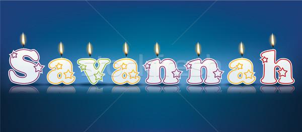 サバンナ 書かれた 燃焼 キャンドル 光 歳の誕生日 ストックフォト © ojal