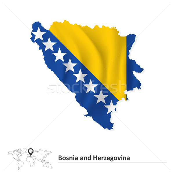 Map of Bosnia and Herzegovina with flag Stock photo © ojal
