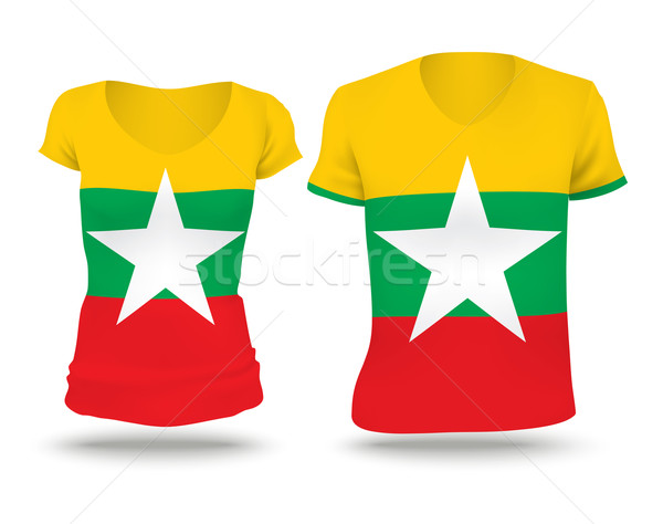 Vlag shirt ontwerp birma vrouw man Stockfoto © ojal