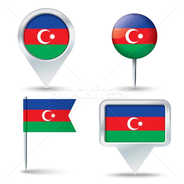 Pokaż banderą Azerbejdżan działalności drogowego biały Zdjęcia stock © ojal