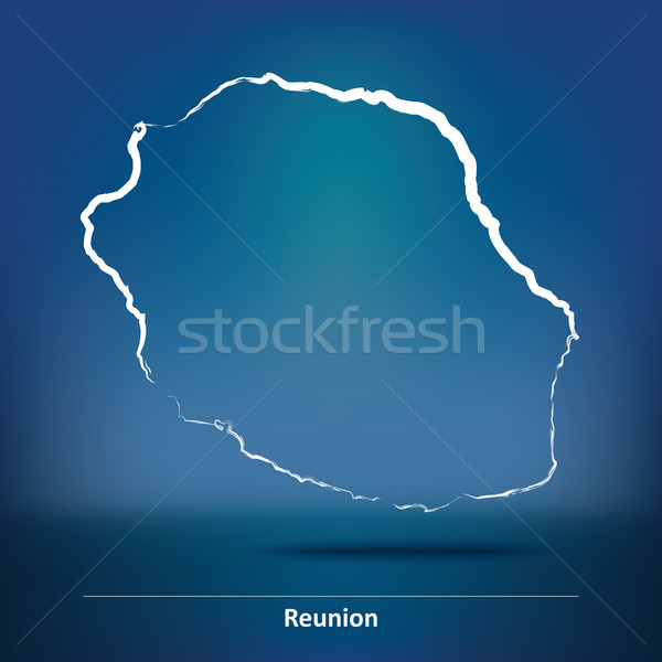 Doodle Map of Reunion Stock photo © ojal